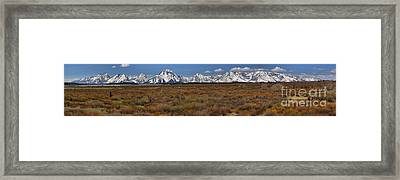 Teton Willow Flats Panorama Framed Print by Adam Jewell