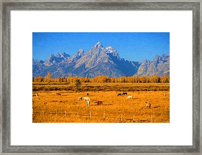 Tetons And Horses Framed Print by Greg Norrell