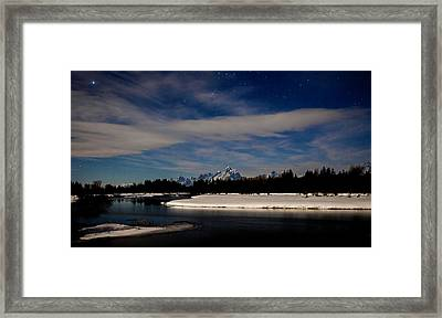 Tetons At Moonlight Framed Print