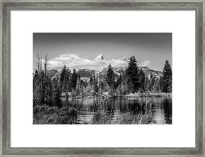 Tetons At Schwabacher's Landing Black And White Framed Print by TL Mair