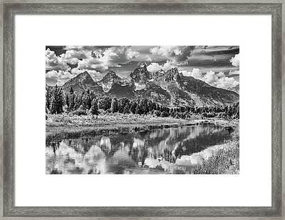 Tetons In Black And White Framed Print by Mary Hone