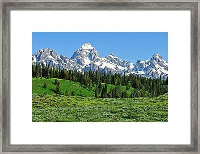 Tetons In Spring Framed Print by Greg Norrell