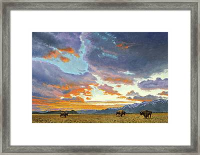 Tetons-looking South At Sunset Framed Print
