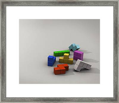 Tetris 3d Tetris Blocks                   Framed Print by F S