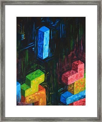 Tetris Tribute Framed Print by John Wallie