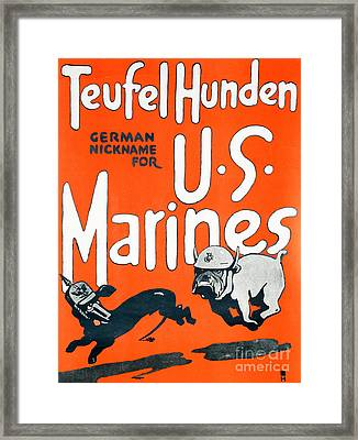 Teufel Hunden Us Marines Poster Framed Print by American School