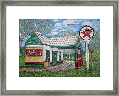 Framed Print featuring the painting Texaco Gas Station by Kathy Marrs Chandler