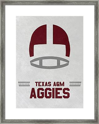 Texas A M Aggies Vintage Football Art Framed Print by Joe Hamilton