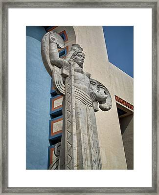Framed Print featuring the photograph Texas Art Deco Sculpture by David and Carol Kelly