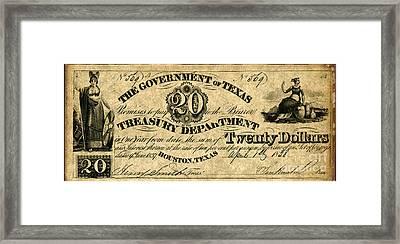 Texas Banknote 1838 Framed Print by Granger
