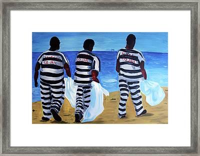 Texas Beach Scene Framed Print by Deborah Lee