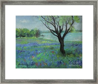 Framed Print featuring the painting Texas Bluebonnet Trail by Robin Maria Pedrero