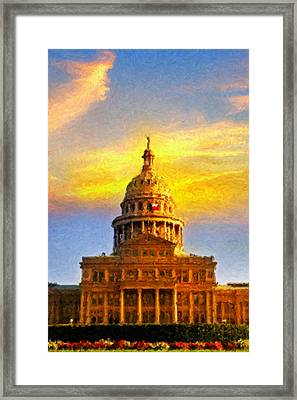 Texas Capitol At Sunset Austin Framed Print