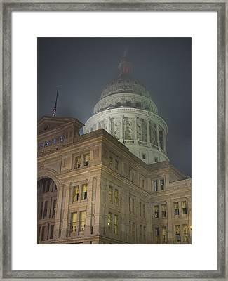 Texas Capitol In Fog Framed Print