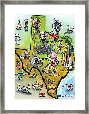 Framed Print featuring the digital art Texas Cartoon Map by Kevin Middleton