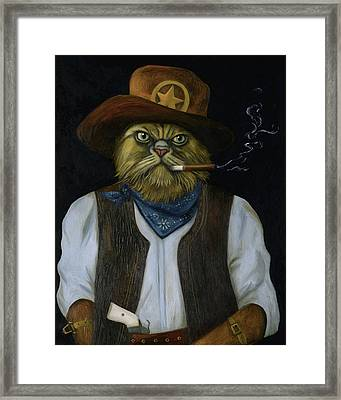 Texas Cat With An Attitude Framed Print by Leah Saulnier The Painting Maniac
