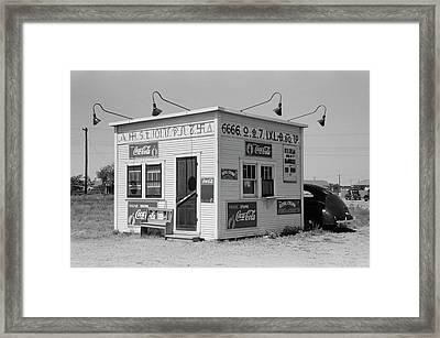 Texas Cattle-brand Burger Stand  1939 Framed Print