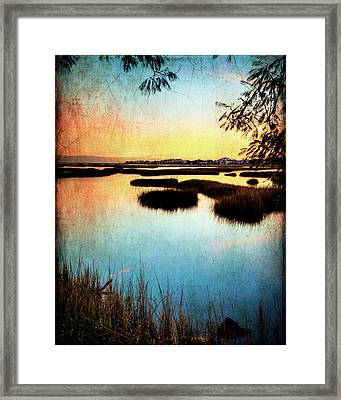 Texas City Wetlands Sunset Framed Print