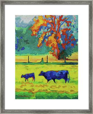 Texas Cow And Calf At Sunset Print Bertram Poole Framed Print by Thomas Bertram POOLE
