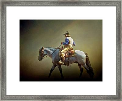 Framed Print featuring the photograph Texas Cowboy And His Horse by David and Carol Kelly