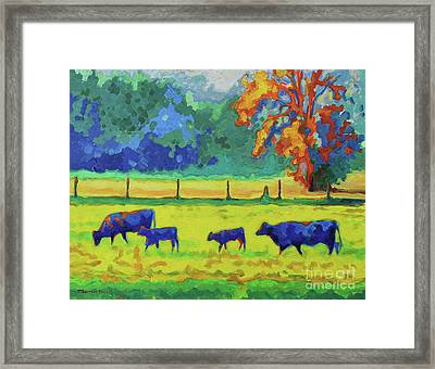 Texas Cows And Calves At Sunset Painting T Bertram Poole Framed Print