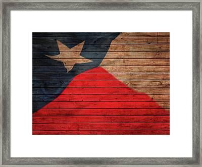 Texas Flag Barn Door Framed Print