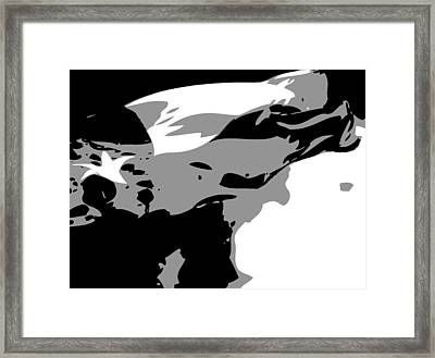 Texas Flag In The Wind Bw3 Framed Print