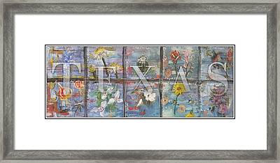 Texas Flowers In Blue Framed Print
