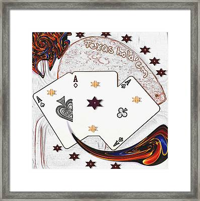Texas Hold Em Poker Framed Print by Pepita Selles