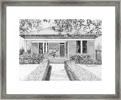 Texas Home Pencil Portrait  Framed Print