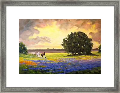 Texas Horses And Bluebonnets Framed Print by Connie Tom