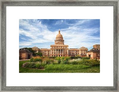Texas Impressions Texas State Capitol Framed Print by Joan Carroll