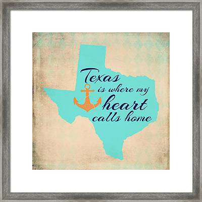 Texas Is Where My Heart Calls Home Framed Print by Brandi Fitzgerald