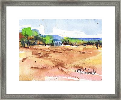 Texas Landscape In Watercolor Painting By Kmcelwaine Framed Print by Kathleen McElwaine