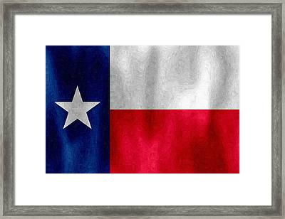 Texas Lonestar Flag In Digital Oil Framed Print
