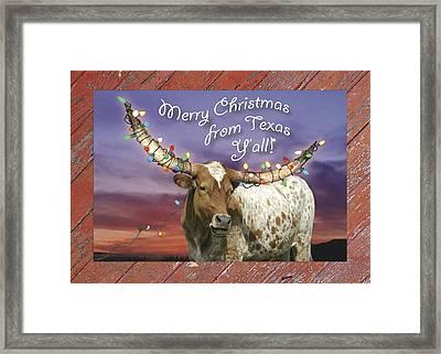 Texas Longhorn Christmas Card Framed Print by Robert Anschutz