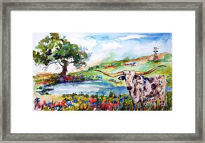 Texas Longhorn Landscape With Bluebonnets And Indian Paintbrush Framed Print by Ginette Callaway