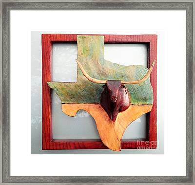 Texas Longhorn Placque Framed Print by Michael Pasko