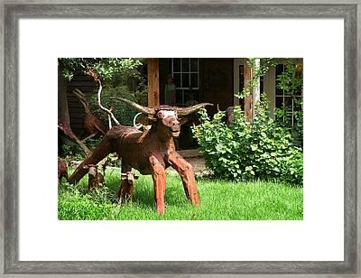 Texas Longhorn Sculpture Framed Print by Linda Phelps