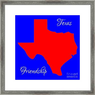 Texas Map In State Colors Blue White And Red With State Motto Friendship Framed Print by Rose Santuci-Sofranko