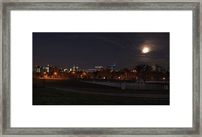 Framed Print featuring the photograph Texas Medical Center Moonset by Joshua House