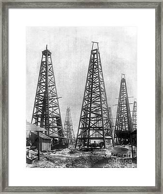 Texas: Oil Derricks, C1901 Framed Print by Granger