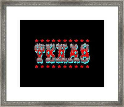 Texas Tshirt Design Framed Print by Art America Gallery Peter Potter
