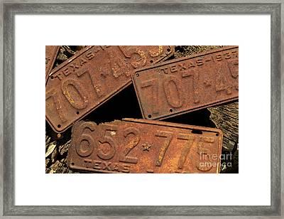Texas Plates Framed Print