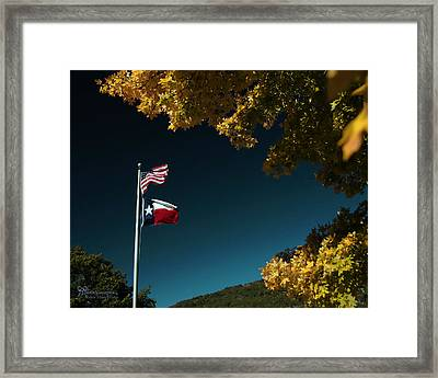 Framed Print featuring the pyrography Texas Pride by Karen Musick