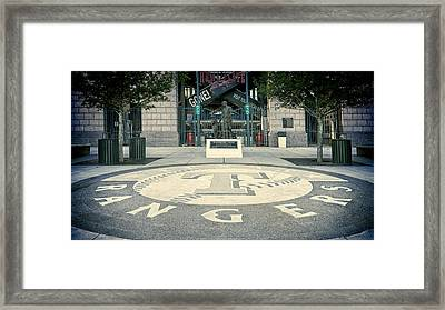 Texas Rangers Logo Framed Print by Joan Carroll