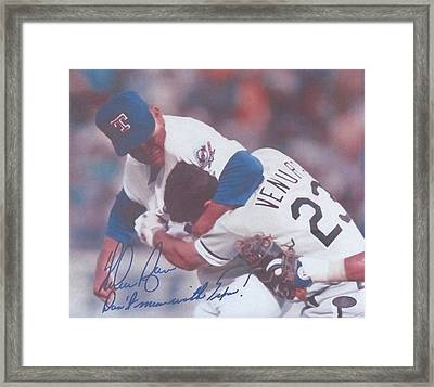 Texas Rangers Nolan Ryan Don't Mess With Texas The Fight On The Mound Framed Print by Donna Wilson