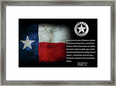 Texas Rangers Quote On Effeminacy And Dandyism  1890 Framed Print by Daniel Hagerman