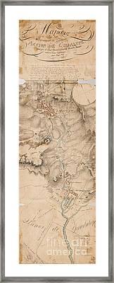 Texas Revolution Santa Anna 1835 Map For The Battle Of San Jacinto  Framed Print