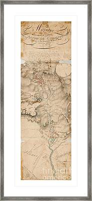 Texas Revolution Santa Anna 1835 Map For The Battle Of San Jacinto With Border Framed Print
